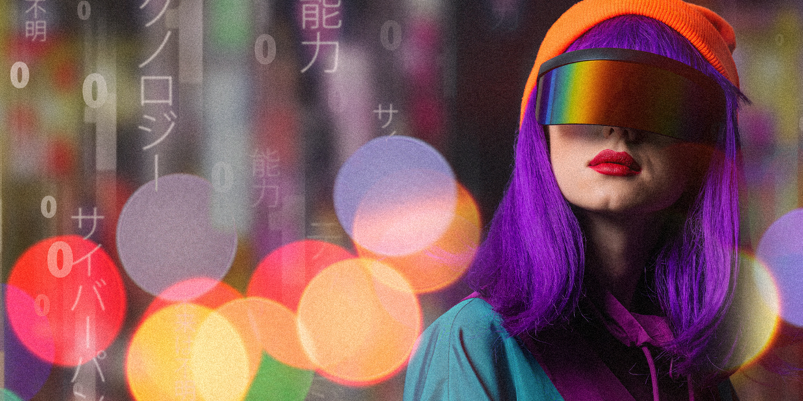 An image of a girl with purple hair with sun visors on, looking at falling vertical lines of code