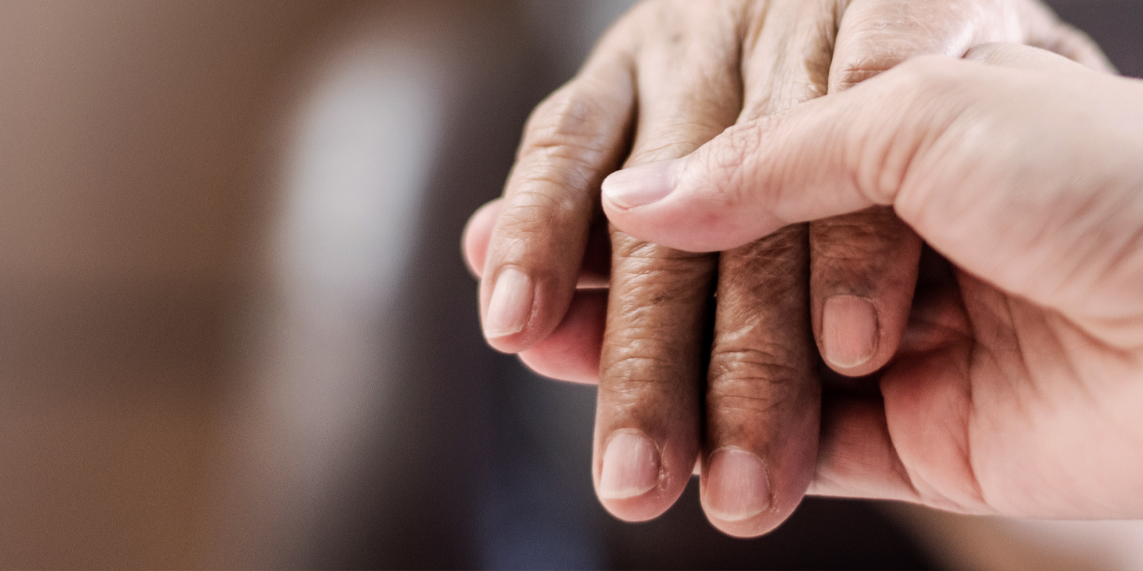 An image of a younger person holding the hand of the older person