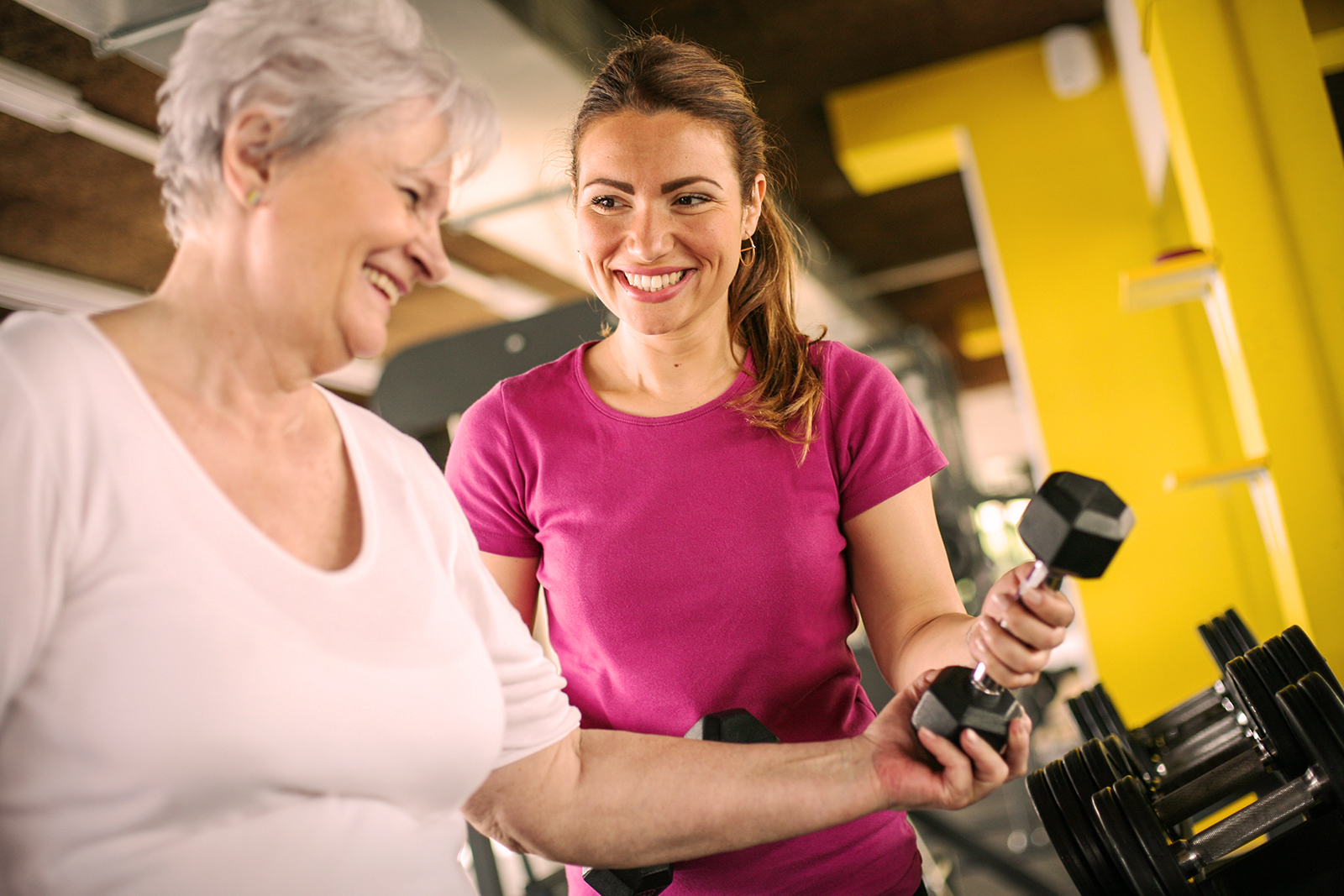 Personal trainer and older female client